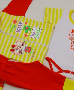 8022 سه تیکه دخترانه راه راه طرح کیتی کد 3143