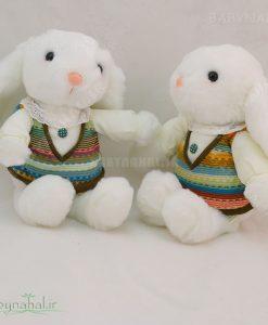 عروسك خرگوش با لباس بافت 30 سانتي كد 3897