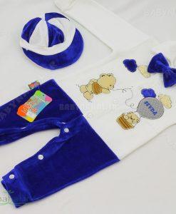 9736 سرهم مخمل با کلاه طرح خرس و بالن سودا سایز 1-2 کد 4253