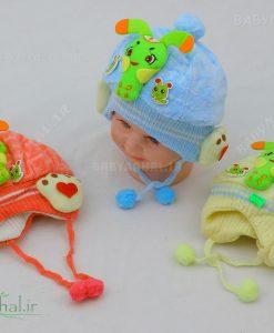 كلاه مخمل نوزادي كرم ابريشم كد 4563