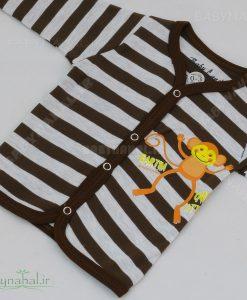 مانتو راه راه میمون پنبه حراجی سایز 1-2-3 کد 7208