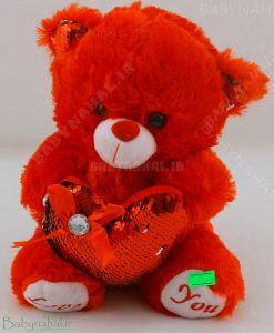 عروسك خرس قلب بدست منجوق دوزي 25 سانتي كد 5118