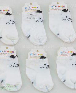201 جوراب مچي نوزادي طرح خرس كد 5803