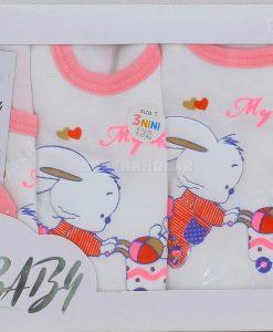 5 تيكه نخي چاپ پفكي رنگي خرگوش و بادكنك (AJ) كد 5994
