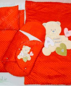 سرویس خواب مخمل خرس و قلب برجسته (AQ) کد 5983