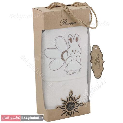 حوله تک گلدوزی طرح خرگوش و گل کد 6682
