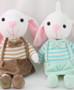 عروسك خرگوش سارافون راه راه 35 سانتي كد 6475