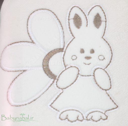 حوله تك گلدوزي طرح خرگوش و گل كد 6682