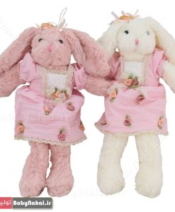 عروسك خرگوش لباسدار پشمي 35سانتي كد 7582