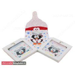 ر۱۲۶ ست کلاه ودستمال گردن جعبه ای چاپ پنگوئن (BS) کد ۷۵۰۱