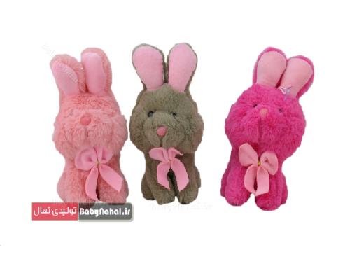 عروسک خرگوش نشسته پاپیون دار 20 سانتی کد 7935 (2)