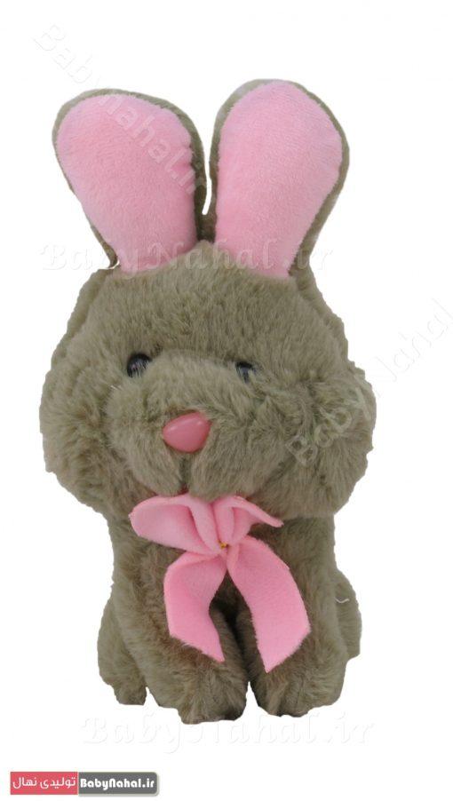 عروسك خرگوش نشسته پاپيون دار 20 سانتي كد 7935