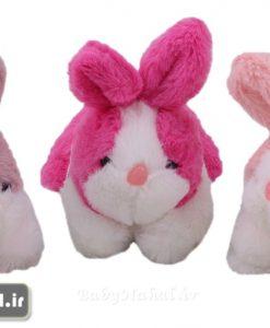 عروسك خرگوش خوابيده دورنگ 18 سانتي كد 7936