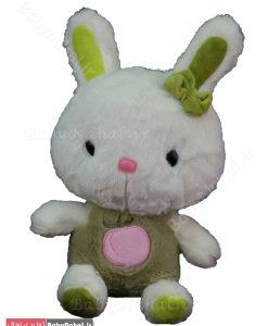 عروسك خرگوش گلدوزي و پاپيون 25 سانتي كد 7834