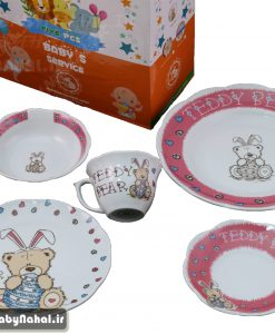 سرويس چيني 5 پارچه نيلوفري مقصود طرح خرس خرگوشي كد 7973