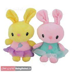 عروسك آويز خرگوش لباس توري 20 سانتي كد 8537