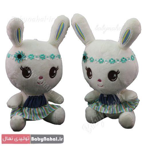 عروسك خرگوش سارافون راه راه 25 سانتي كد 4082