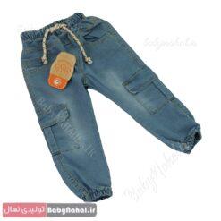 1053 شلوار لي كمر كش 6 جيب سايز 4-6 (BO) كد 8994